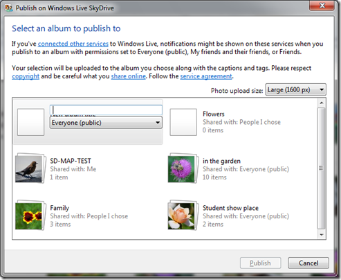 How do I upload photos to SkyDrive using Windows Live Photo Gallery? (4/6)