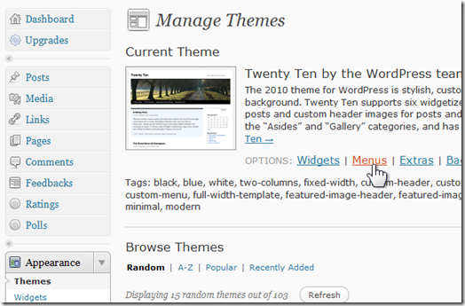 How do I install a custom menu on my WordPress blog? (1/6)