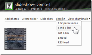 Is there a way to send SkyDrive albums as slide shows? (2/5)