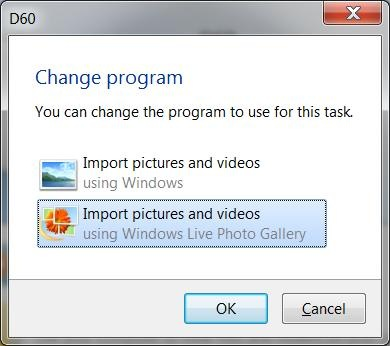 How do I import photos from my camera to my Windows 7 computer