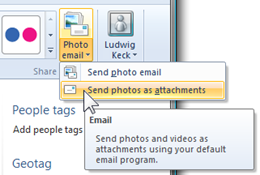 How do I send pictures by attaching to email rather than using Photo Email? (1/6)