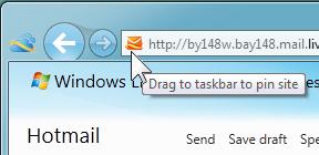 how to get hotmail on my taskbar