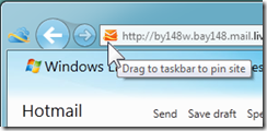 Can I pin my Hotmail Inbox to the Taskbar? (1/6)