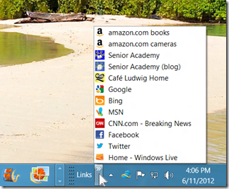 Links toolbar and menu